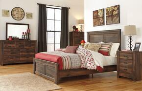 Quinden Queen Bedroom Set with Panel Bed, Dresser, Mirror, Nightstand and Chest in Dark Brown