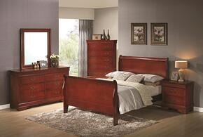 Louis Philippe 200431QDMNC 5-Piece Bedroom Set with Queen Sleigh Bed, Dresser, Mirror, Nightstand and Chest in Cherry Finish