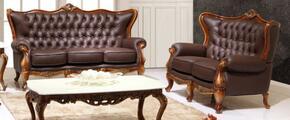 995ESPRESSOS2SET Traditional 2 Piece Livingroom Set, Sofa and Loveseat in Espresso with Natural Walnut Finish
