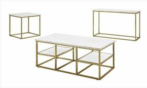 Home Accents Collection 720418SET 3 PC Living Room Table Sets with Coffee Table + End Table + Sofa Table in White and Brushed Brass Finish