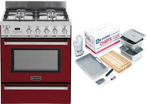 "2-Piece Red Kitchen Package with VEFSGE304PBU 30"" Freestanding Dual Fuel Range and Chefs Pak"