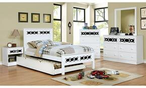 Cammi Collection CM7853BLTBDMCN 5-Piece Bedroom Set with Twin Bed, Dresser, Mirror, Chest, and Nightstand in Blue and White Finish