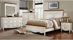 Johara Collection CM7040KBDMCN 5-Piece Bedroom Set with King Bed, Dresser, Mirror, Chest and Nightstand in White and Oak Finish