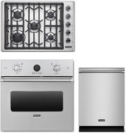 "3-Piece Stainless Steel Kitchen Package with VESO5302SS 30"" Single Wall Oven, VGSU5305BSS 36"" Gas Cooktop and VDW302SS 24"" Fully Integrated Dishwasher"