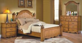 4431WBDMN Hailey 4 Piece Bedroom Set with California King Poster Bed, Dresser, Mirror and Nightstand, in Toffee