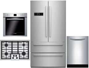 "4 Piece Stainless Steel Kitchen Package With B21CL80SNS 36"" French Door Refrigerator, NGM5055UC 30"" Gas Cooktop, HBE5451UC 24"" Single Wall Oven and SHXN8U55UC 24"" Built In Dishwasher"