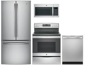 "4-Piece Stainless Steel Kitchen Package with GNE25JSKSS 33"" French Door Refrigerator, JB655SKSS 30"" Freestanding Electric Range, JVM6175SKSS 30"" Over the Range Microwave Oven, and GDT655SSJSS 24"" Fully Integrated Dishwasher"