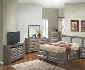 G1505IKSB4CHDMTV2 5 Piece Set including  King  Size Bed, Chest, Dresser, Mirror and Media Chest in Gray