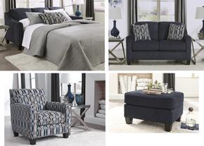 Creeal Heights Collection 80202QSSLACO 4-Piece Living Room Set with Queen Sofa Sleeper, Loveseat, Accent Chair and Ottoman in Midnight Blue Ink