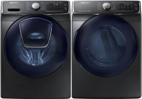 "Black Stainless Front Load Laundry Pair with WF45K6500AV 27"" Washer and DV45K6500EV 27"" Electric Dryer"