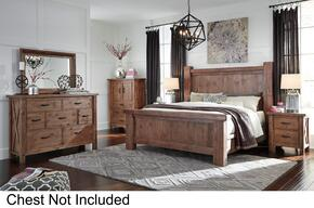 Tamilo King Bedroom Set with Poster Bed, Dresser, Mirror and Nightstand in Greyish Brown Finish