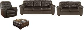 Alliston Collection 20101SLRO 4-Piece Living Room Set with Sofa, Loveseat, Recliner and Ottoman in Chocolate