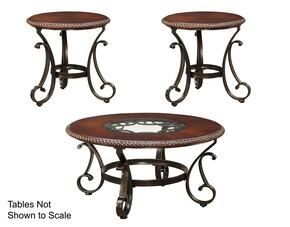 Gambrey T626CT2ET 3-Piece Living Room Table Set with Round Cocktail Table and 2 Round End Tables in Reddish Brown Color