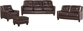 O'Kean 59105SLCO 4-Piece Living Room Set with Sofa, Loveseat, Chair and Ottoman in Mahogany