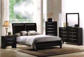 04151CKDMCN Ireland California King Size Sleigh Bed + Dresser + Mirror + Chest + Nightstand in Black