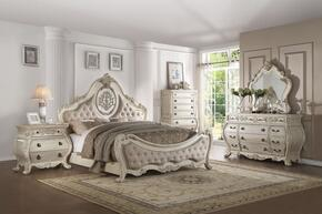 Ragenardus Collection 27004CKSET 5 PC Bedroom Set with California King Size Bed + Dresser + Mirror + Chest + Nightstand in Antique White Finish