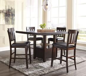 Haddigan Collection D596-5PCRECCH4BRKIT1 5-Piece Dining Room Sets with Rectangular Dining Table, and 4x Brown 25.88