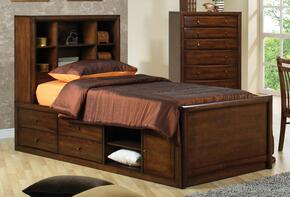 Scottsdale Collection 400280TSET 2 PC Bedroom Set with Twin Size Bed + Chest in Warm Brown Finish