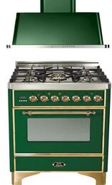 "2-Piece Emerald Green Kitchen Package with UM76DMPVS 30"" Freestanding Dual Fuel Range (Brass Trim, 5 Burners, Timer) and UAM76VS 30"" Wall Mount Range Hood"