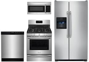 "Piece Kitchen Package With DGGF3046RF 30"" Gas Freestanding Range, FFSS2614QS 36"" Side by Side Refrigerator, FFMV164LS  Over the Range Microwave Oven and FFBD2412SS 24"" Built in Dishwasher in Stainless Steel"