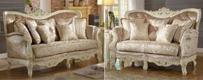 Grace 687-S-L 2 Piece Living Room Set with Sofa and Loveseat in Pearl White Color