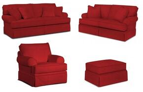 Emily 6262SLCO/4022-65 4-Piece Living Room Set with Sofa, Loveseat, Chair and Ottoman in 4022-65 Red