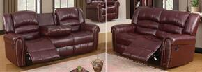 Chelesa 686-S-L 2 Piece Living Room Set with Sofa and Loveseat in Burgundy
