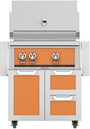 "30"" Freestanding Natural Gas Grill with GCR30TQ Tower Grill Cart with Double Drawer and Door Combo, in Citra Orange"