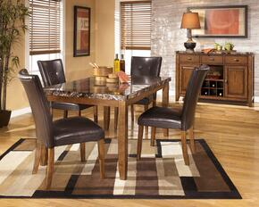 D3282501 Lacey Rectangular Dining Table with Four Side Chairs, Faux Marble Top, Veneers and Hardwood Solids in Dark Brown
