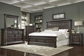 Grand Manor 8920707140BDMN 5 PC Bedroom Set with King Size Bed + Dresser + Mirror + Chest + Nightstand in Tobacco Finish