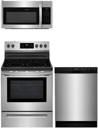 "3-Piece Stainless Steel Kitchen Package with FFEF3054TS 30"" Freestanding Electric Range, FFMV1645TS 30"" Over-the-Range Microwave and FFBD2412SS 24"" Full Console Dishwasher"