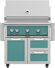 "36"" Freestanding Liquid Propane Grill with GCR36TQ Tower Grill Cart with Three Doors, in Bora Bora Turquoise"