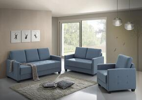 G774SET 3 PC Living Room Set with Sofa + Loveseat + Armchair in Sky Blue Color