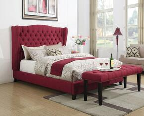 Faye 20887EK2PC Bedroom Set with Eastern King Size Bed + Bench in Red Color