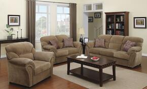 Patricia 51950SLC 3 PC Living Room Set with Sofa + Loveseat + Chair in Light Brown Color