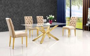Capri Collection MER5PCRECDH4BEKIT1 5-Piece Dining Room Sets with Rectangular Dining Table, and 4x Beige Dining Chairs in Gold