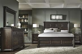 Grand Manor 8920505140BDM2N 5 PC Bedroom Set with Queen Size Bed + Dresser + Mirror + 2 Nightstands in Tobacco Finish