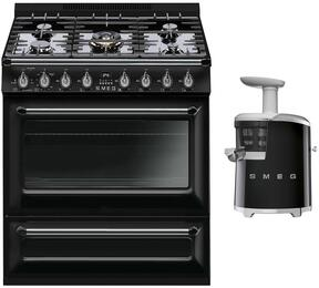 "2-Piece Black Kitchen Package with TRU36GGBL 36"" Freestanding Gas Range and SJF01BLUS 7"" Slow Juicer"