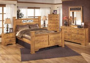 Bittersweet Queen Bedroom Set with Poster Bed, Dresser, Mirror and Nightstand in Light Wood