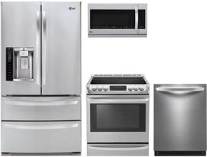 """4-Piece Stainless Steel Kitchen Package with LMXS27626S 36"""" French Door Refrigerator, LSE4613ST 30"""" Electric Freestanding Range, LDF8874ST 24"""" Fully Integrated Dishwasher and LMHM2237ST 30"""" Over the Range Microwave"""