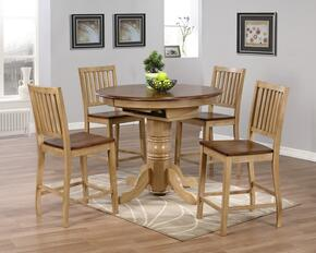 Brook Collection DLU-BR4260CB-B60-PW5PC 5 Piece Round or Oval Butterfly Leaf Pub Table Set with Slat Back Stools