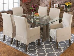 872-78B78GKTSET7 Hampton Sandblasted Trestle Dining Table with Glass Top and 6 Slipcovered Dining Chairs with Arm Rests