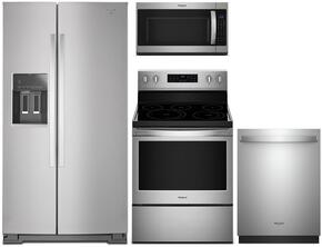 "4-Piece Stainless Steel Kitchen Package with WRS586FIEM 36"" Side-by-Side Refrigerator, WFE540H0ES 30"" Freestanding Electric Range, WDT720PADM 24"" Fully Integrated Dishwasher and MH53520CS 30"" Over the Range Microwave"