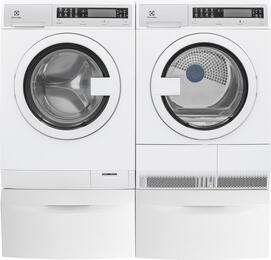 "White Compact Front Load Laundry Pair with EFLS210TIW 24"" Washer, EFDE210TIW 24"" Electric Dryer and 2 EPWD210TIW Pedestals"