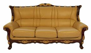 992S3SET Traditional Style Sofa in Khaki with Mahogany Wood Finish and Gold Leaf Trim + Loveseat + Chair