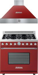 "Deco 2-Piece Red with Chrome Accent Kitchen Package with RD361GCRC 36"" Freestanding Gas Range and HD361ACRC 36"" Wall Mount Range Hood"