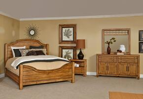 Bethany Square 4930QPBNDM 4-Piece Bedroom Set with Queen Panel Bed, Nightstand, Door Dresser and Landscape Mirror in Rustic Brown Finish