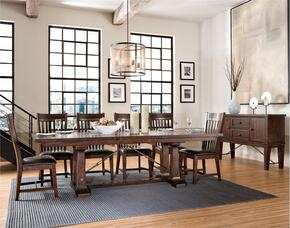Hayden HY-TA-421006240-RSE-BSE  Extendable Dining Room Trestle Table and Server with Distressed Detailing  in Espresso