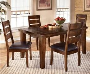 Julienne Collection DR-282-DT4SC Larchmont Rectangular Dining Table with Four Chairs, Two Sided Taper Shape Legs, Thick BuiltUp Edge and Constructed from Solid Hardwoods in Dark Brown