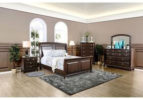 Litchville Collection CM7383KBDMCN 5-Piece Bedroom Set with King Bed, Dresser, Mirror, Chest and Nightstand in Brown Cherry Finish